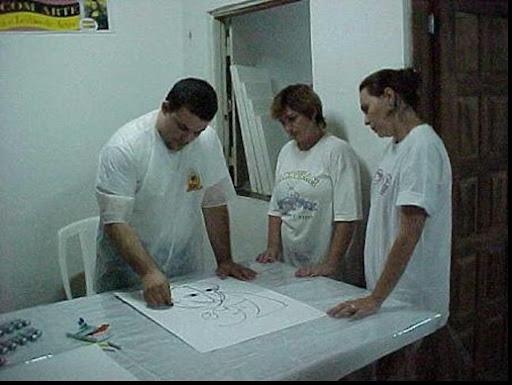 Imagem do médium enquanto pintava