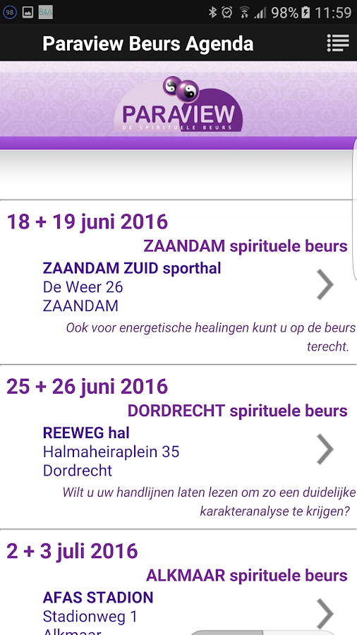Paraview Event Calendar- screenshot