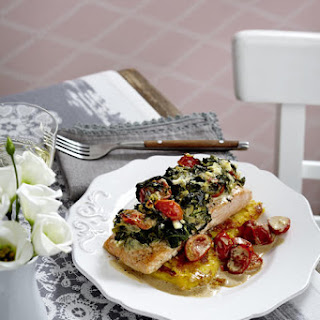Salmon Florentine with Pan-Fried Polenta
