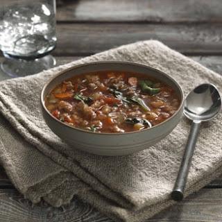 Spicy Turkey Sausage Lentil Soup.