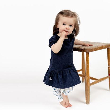 Gigi - Marinblå trikåklänning till barn & baby