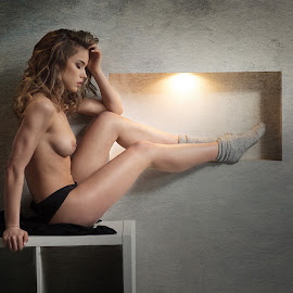 Sarah is resting by Atanas Donev - Nudes & Boudoir Artistic Nude ( beautiful, fitnes, socks, nude, girl, glamur, breasts )