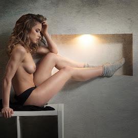 Sarah is resting by Atanas Donev - Nudes & Boudoir Artistic Nude ( beautiful, fitnes, socks, nude, girl, glamur, breasts )
