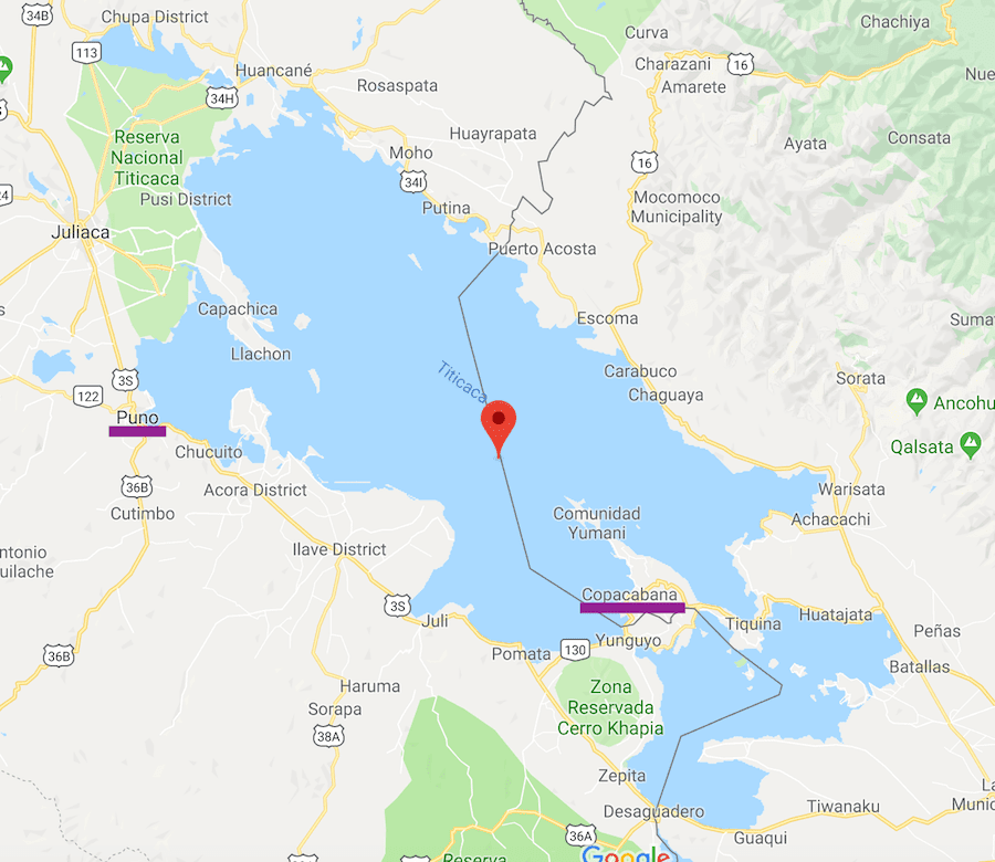 map of puno and lake titicaca shown near copacabana on google maps south america