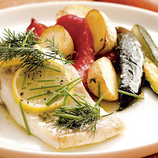 Herbed Fish Packets with and Roasted Vegetables.