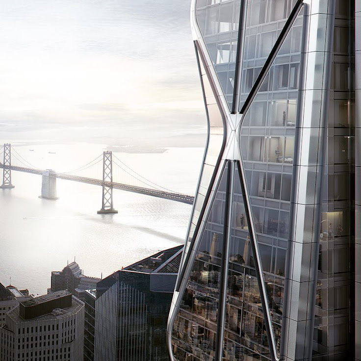 Artist's rendering of the Oceanside Center tower overlooking the Bay Bridge.