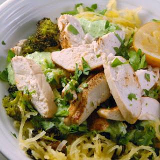 Lemony Cajun Chicken Spaghetti Squash with Broccoli + Herbed Ricotta