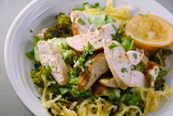 Lemony Cajun Chicken Spaghetti Squash with Broccoli + Herbed Ricotta ...