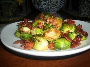 Pan Roasted Bacon & Garlic Brussel Sprouts