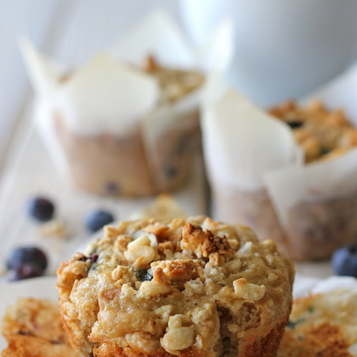 Blueberry Oatmeal Muffins with Granola Crumb Topping Recipe
