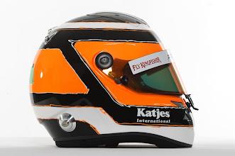 Photo: The helmet of Nico Hulkenberg (GER) - Sahara Force India Formula One Team - Driver Studio Photoshoot - Silverstone, UK, 02.02.2012 -  Sahara Force India Formula One Team Copyright Free Image