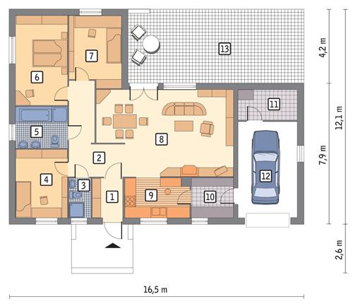 Dom na 102 - wariant III - D09b - Rzut parteru