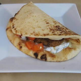 Curry Chicken Naan 'wraps' With Tzatziki.