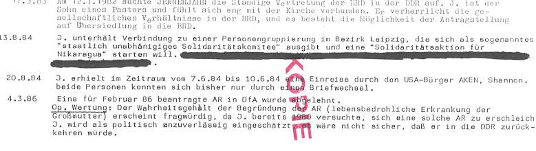 """Photo: Stasi Schnüffler Lüge - ein Jahr später starb die Großmutter  INKOTA """"Solidarität für Nikaragua"""" In den 80er Jahren hat INKOTA als ökumenischer Arbeitskreis unter dem Dach des Bundes der Evangelischen Kirchen den Konziliaren Prozess für Gerechtigkeit, Frieden und Bewahrung der Schöpfung in der DDR mitgetragen und geprägt. Wie andere Gruppen der Bürgerrechtsbewegung befand sich das INKOTA-netzwerk in Opposition zu den bestehenden Verhältnissen."""