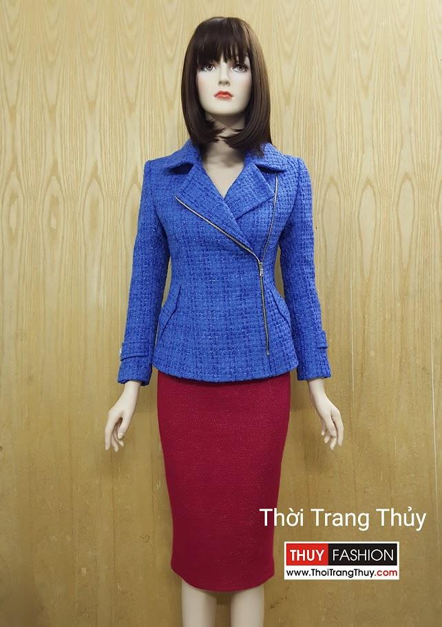 Áo khoác dạ nữ dáng ng cổ vest khéo khóa sườn V495 Thời Trang Thủy