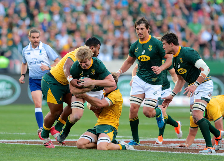 Ball carrier Pieter-Steph du Toit of South Africa during the Rugby Championship match between South Africa and Australia at Nelson Mandela Bay Stadium on September 29, 2018 in Port Elizabeth, South Africa.