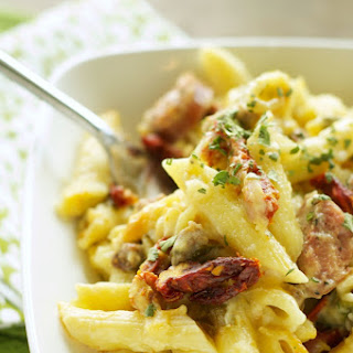 Slow Cooker Sausage Penne Bake with Sun-Dried Tomatoes and Spinach Recipe