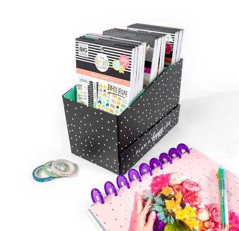 Me & My Big Ideas Stickers Storage Box - Black and White Polka Dot