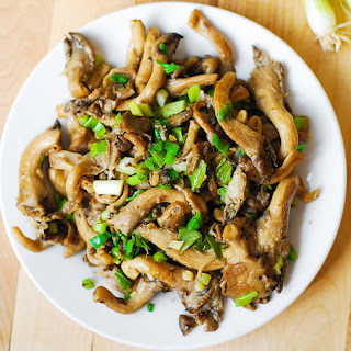 Oyster mushrooms, garlic, and green onions saute (Paleo, Gluten Free).