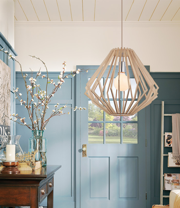 Đèn thả gỗ là sự lựa chọn độc đáo trong ngôi nhà