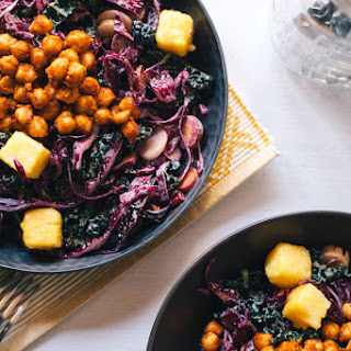 BBQ Chickpea and Slaw Salad with Cheesy Polenta Croutons.