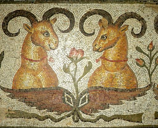 Antioche, mosaïque, bouquetins (détail), musée du Louvre.