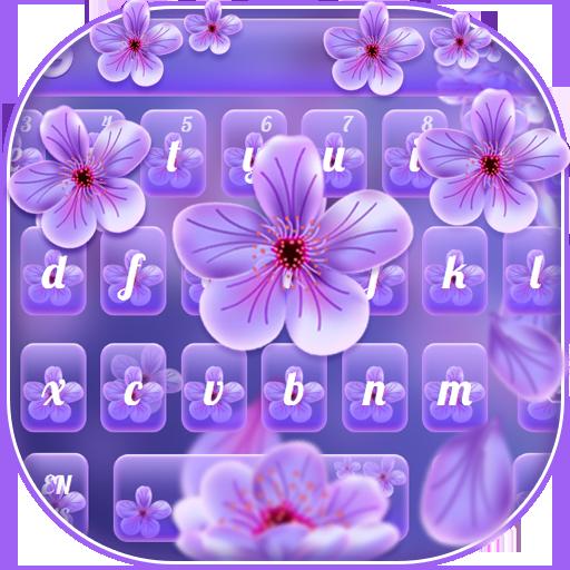 Beautiful Purple Flower Keyboard