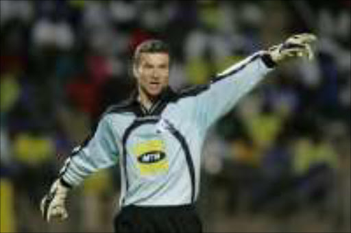 BOMBARDED: Sundowns goalkeeper Calvin Marlin was over-worked. Pic. Antonio Muchave. 12/11/06. ©