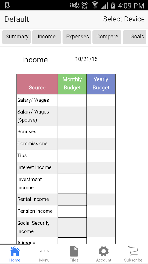 Home Budget- screenshot