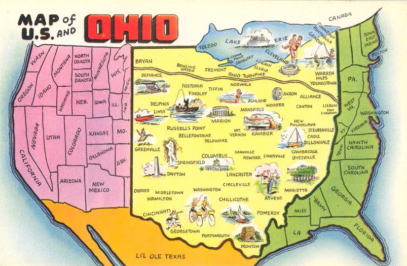 bad-postcards: MAP OF U.S. AND OHIO - Maps on the Web