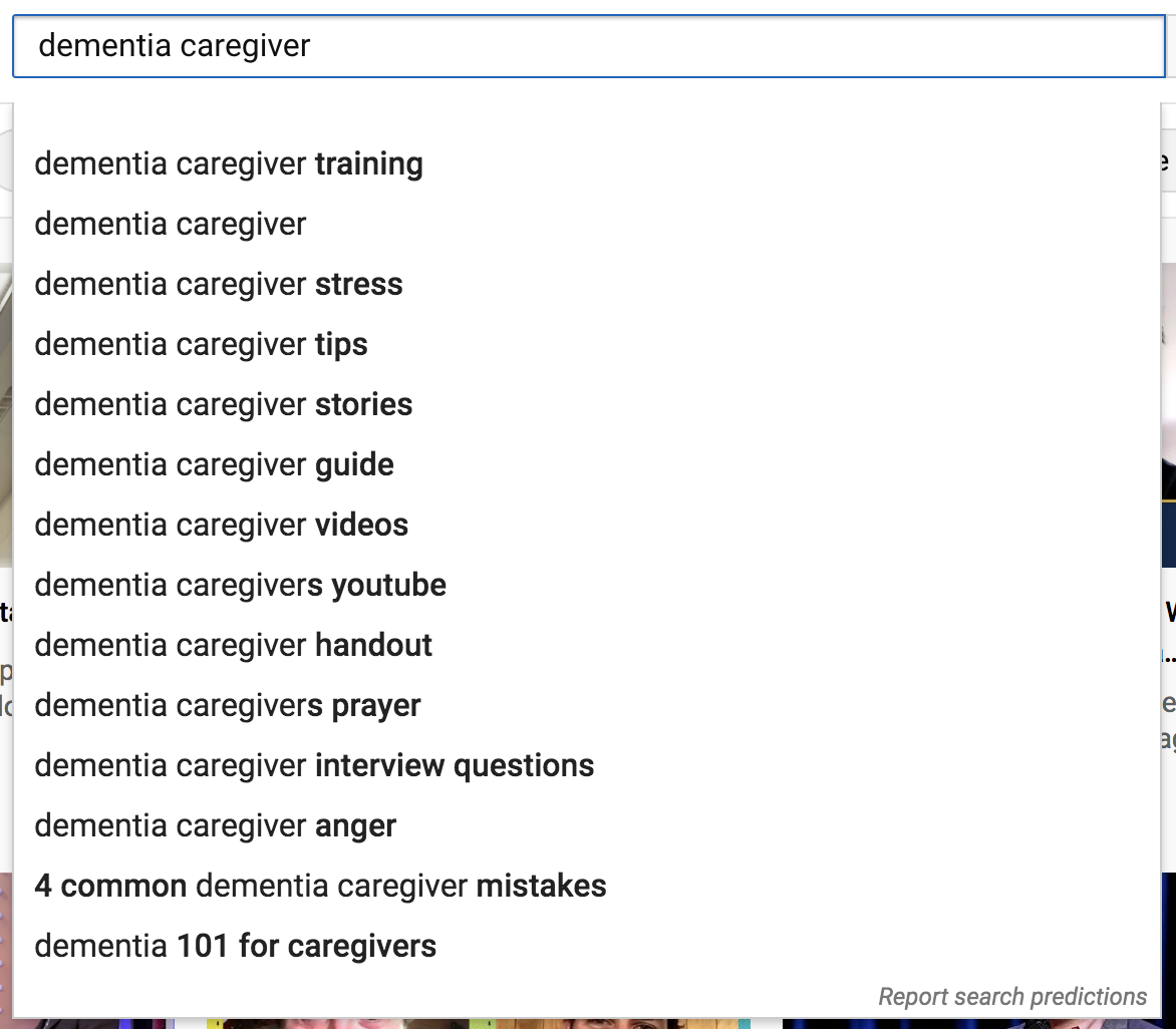 Dementia Care-YouTube Search
