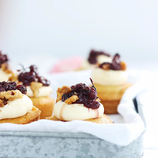 Honey Cupcakes with Goat Cheese Frosting/Roasted Grapes and Candied Walnuts