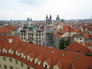 Photo: The view from the top of the Klementinum (the national library) showing Old Town and Tyn Church.