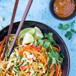 Sesame Peanut Zucchini + Carrot Noodles.