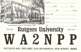 "Photo: One of the 6 different designs we had at the Rutgers club station, where I was president from 1974 through 1977. I believe someone in the club custom printed them before I got there. We also had business cards that advertised our ""Free Radiogram"" service."