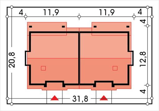 Małgosia bliźniak wersja A bez garażu, parterowa, z wykuszem - Sytuacja