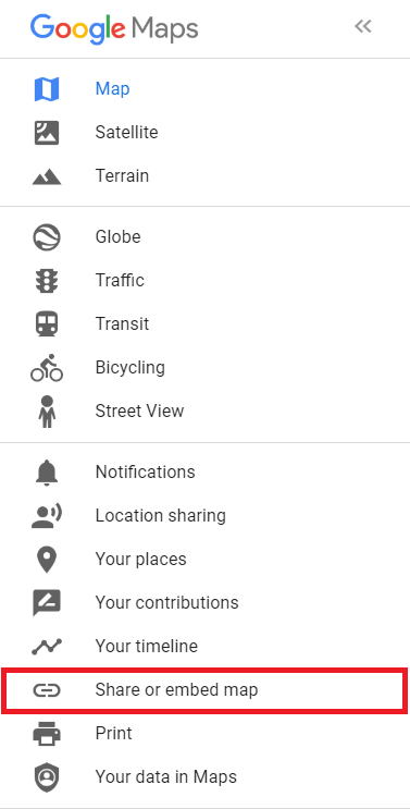 "Google My Business menu with ""Share or embed map"" highlighted."