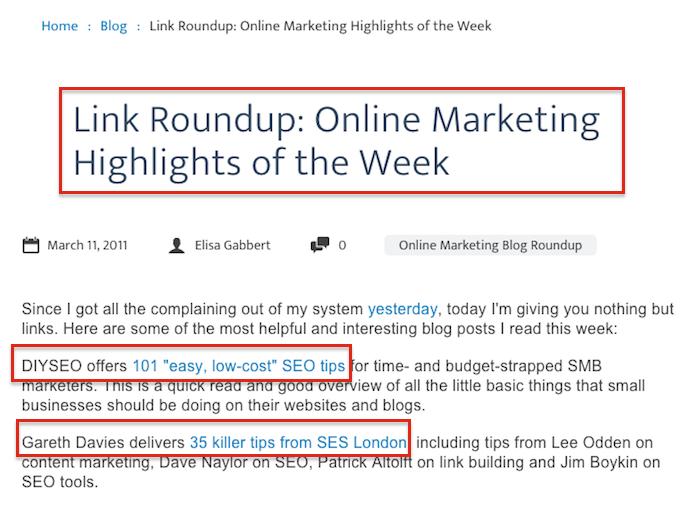 Ví dụ về liên kết Roundup