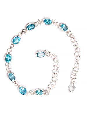 Blå topas armband med silverlänkar