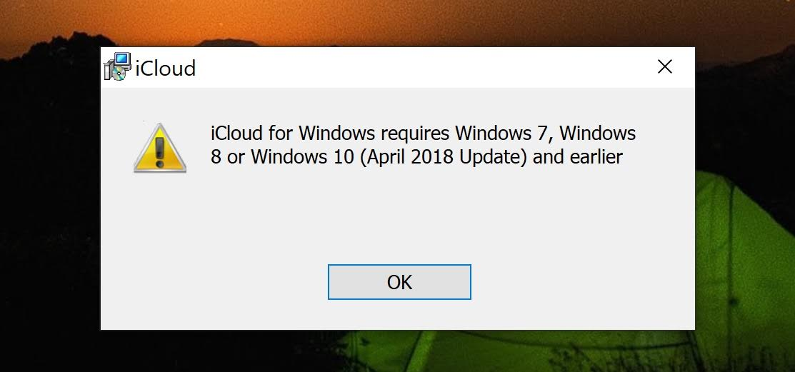 iCloud for Windows error message