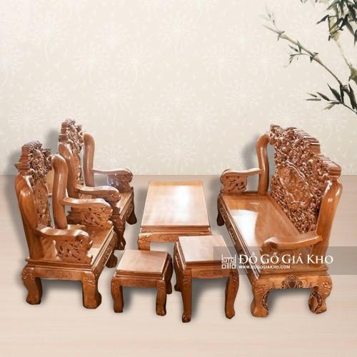 Bàn ghế gỗ gõ đỏ tay 12 chạm rồng bát tiên - BG026