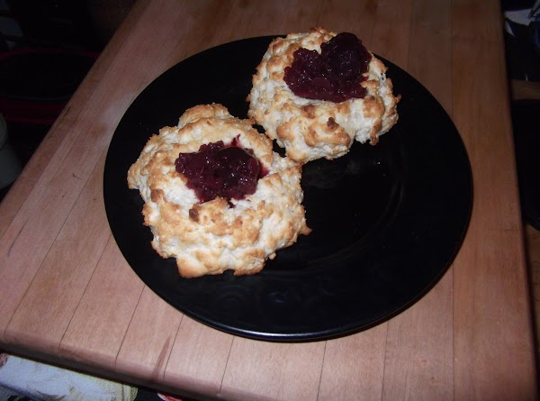 """Spoon cranberry sauce into each """"dent"""" just before serving. **NOTE:  i used canned cherries..."""