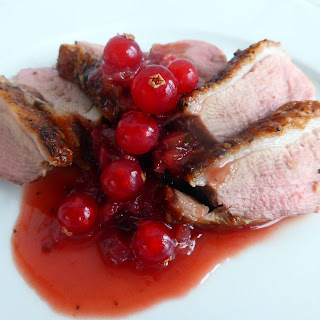 Duck Breast with Redcurrant and Port Sauce.