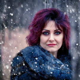 by Alexandru Tache - People Portraits of Women ( lights, love, sexy, winter, tree, woman, outdoor, snow, white, forest, eyes )