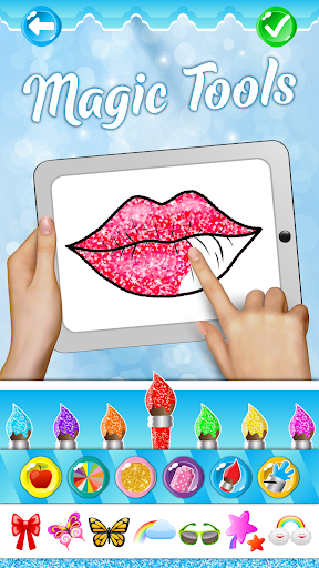 Glitter Lips with Makeup Brush Set coloring Game screenshot 1