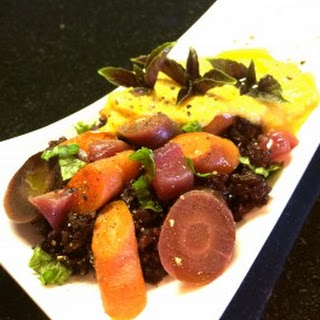 Rainbow Carrots two ways with Apple, Basil and Black Rice