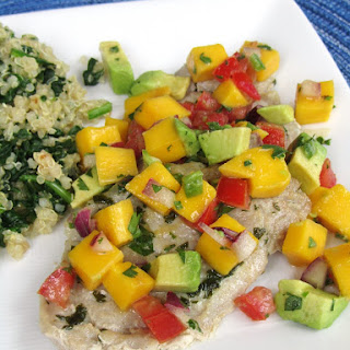 Pork Loin Chops with Avocado-Mango Salsa and Spinach Quinoa.