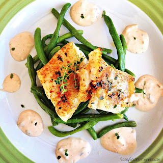 Grilled Cod with Lemon Thyme and Garlicky Green Beans.