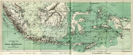Photo: Route of Alfred Russel Wallace's journey (heavy black line) around the Malay Archipelago, from his book 'The Malay Archipelago'. Copyright George Beccaloni