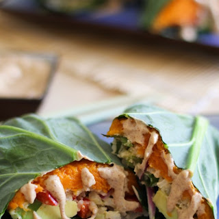 Roasted Sweet Potato and Cauliflower Rice Collard Wraps